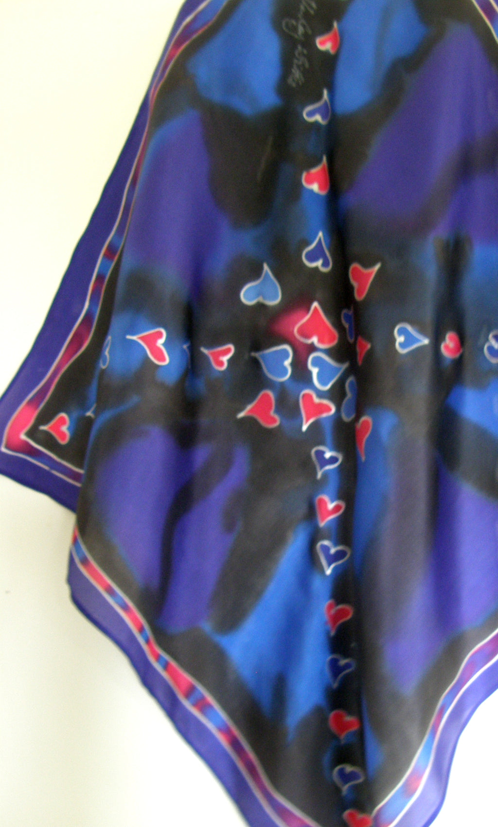 Hearts in Red & Blue - Hand painted Silk  Scarf - Satherley Silks NZ