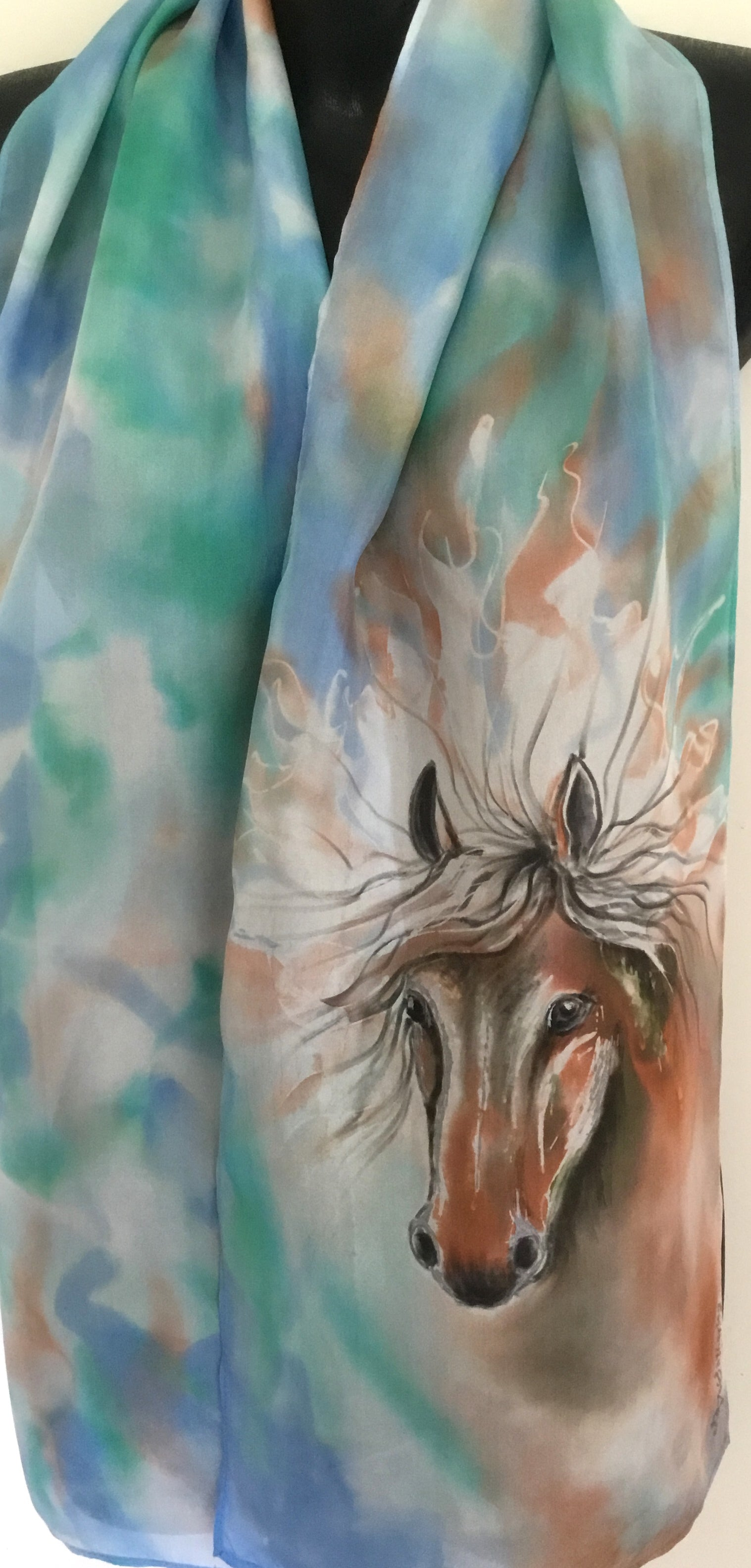 Horse Portrait - Hand painted Silk Scarf - Satherley Silks NZ