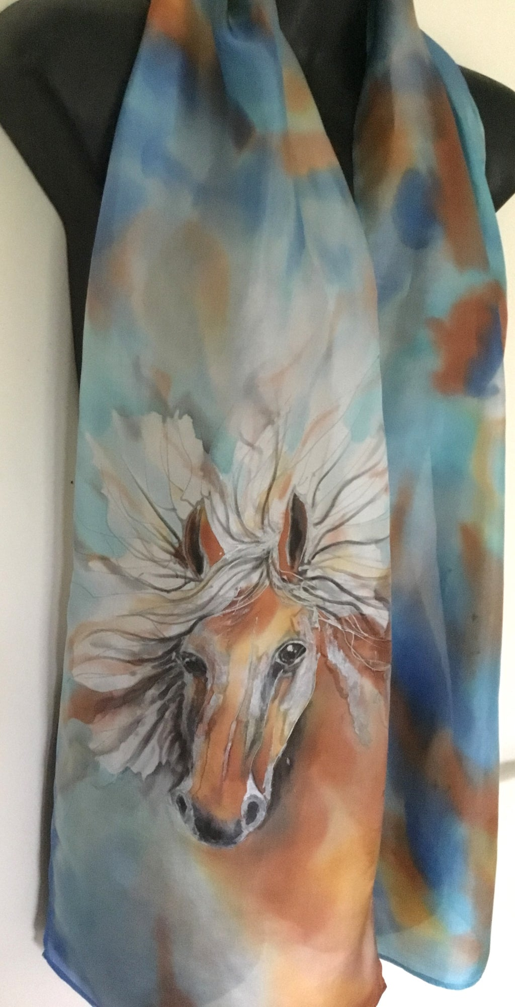 Equestrian Horse Lovers - Hand Painted Silk Scarf - Satherley Silks NZ