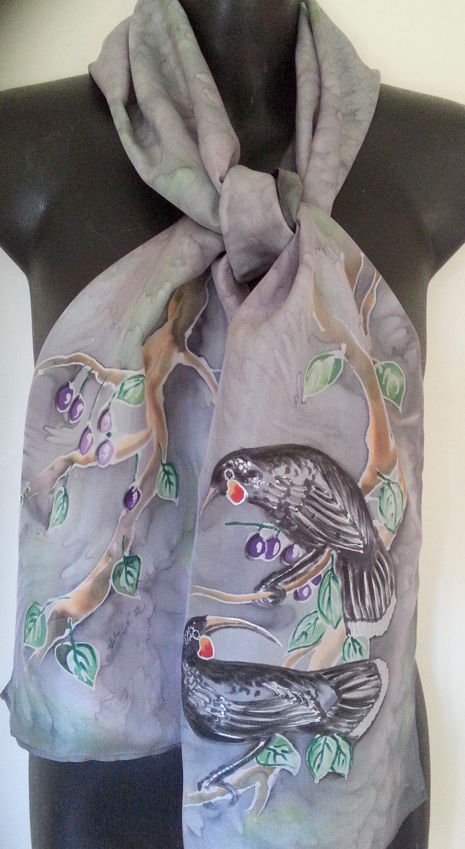 Huia Birds New Zealand  bird - Hand Painted Silk Scarf - Satherley Silks NZ