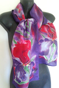 Bearded Iris in Red and Purple - Hand painted Silk Scarf - Satherley Silks NZ