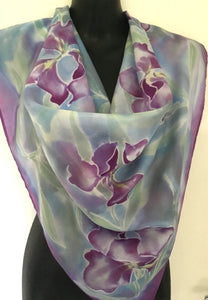 Iris in Monet watercolour pastels, square silk scarf - Satherley Silks NZ