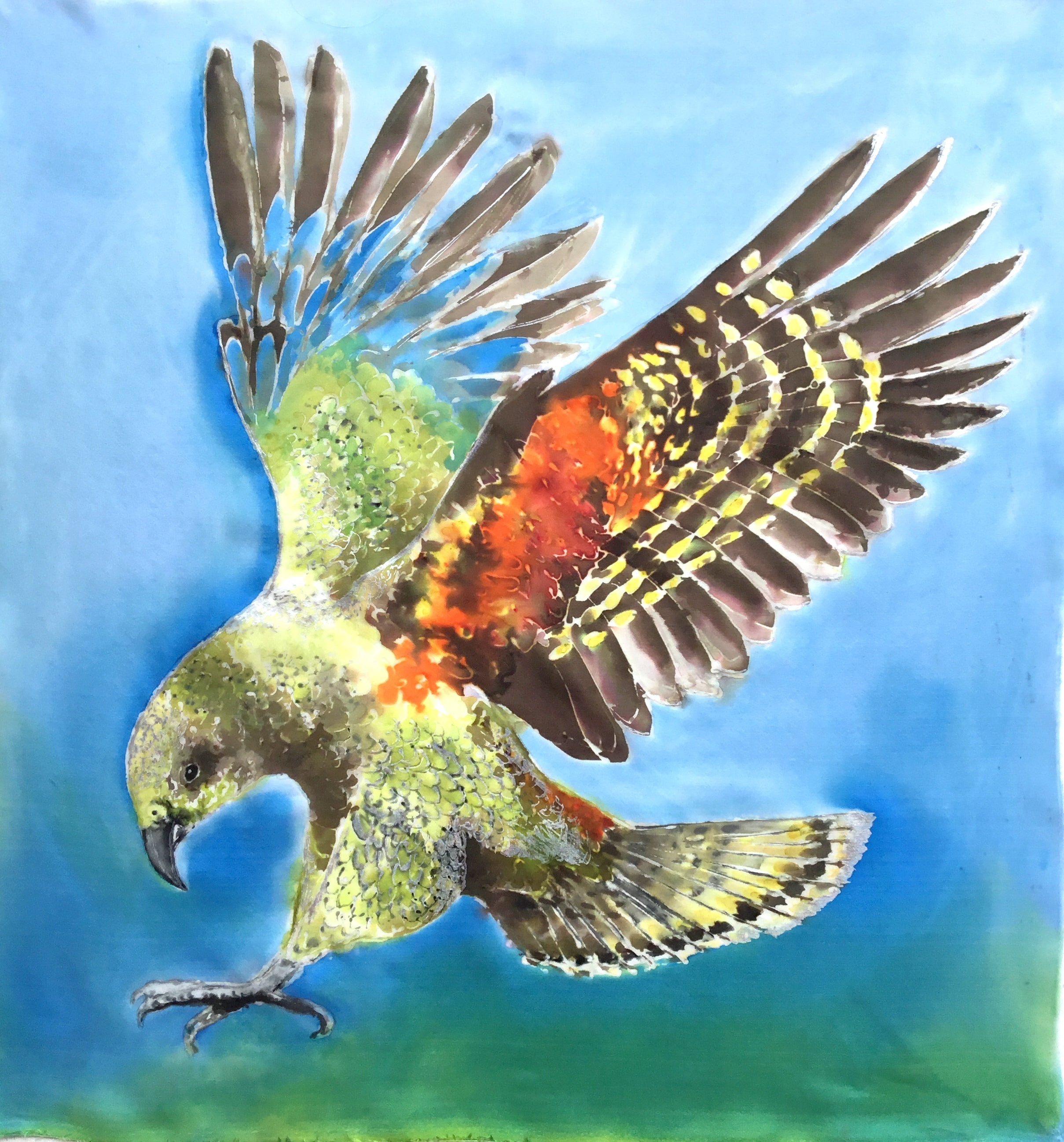 Original Silk Painting - Kea