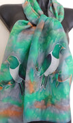 Kereru, on Green and Tan, New Zealand pigeon - Hand painted Silk Scarf