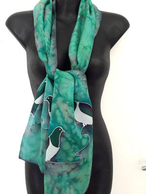 Kereru, New Zealand Wood pigeon - Hand painted Silk Scarf - Satherley Silks NZ