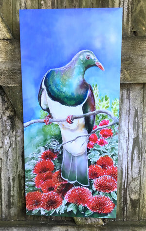 Kereru on Pohutukawa - Outdoor Garden Art Panel - Satherley Silks NZ