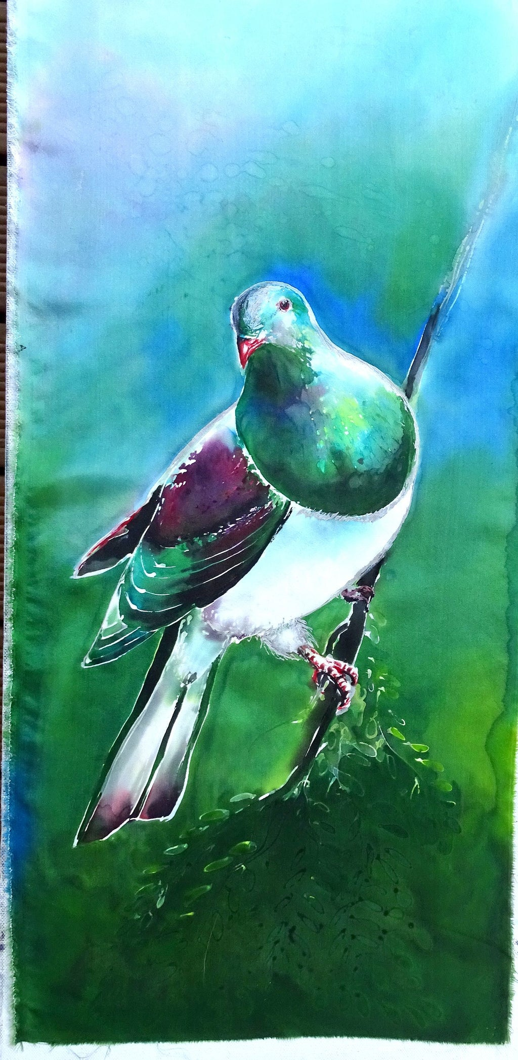 Original Silk Painting - Kereru (Wood Pigeon)