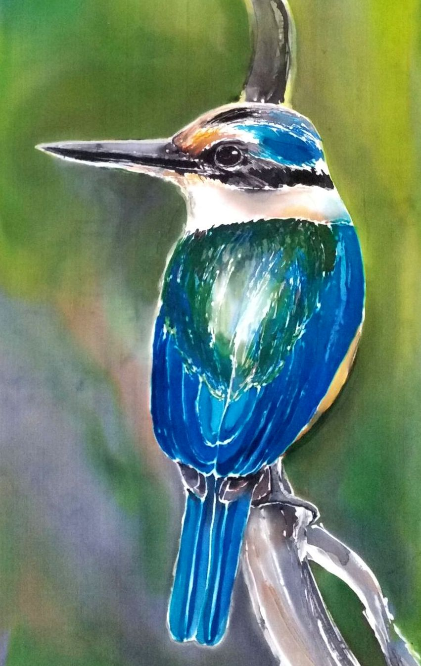 Kingfisher Outdoor Art Tile - Satherley Silks NZ