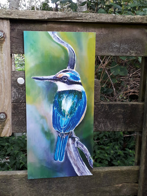 Kingfisher - Outdoor Garden Art Panel - Satherley Silks NZ