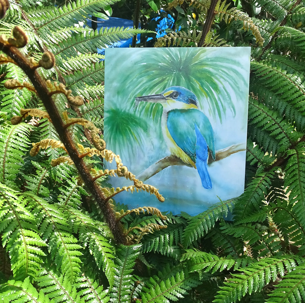 Kingfisher & Cabbage trees - Art panel 25cm - Outdoor Art