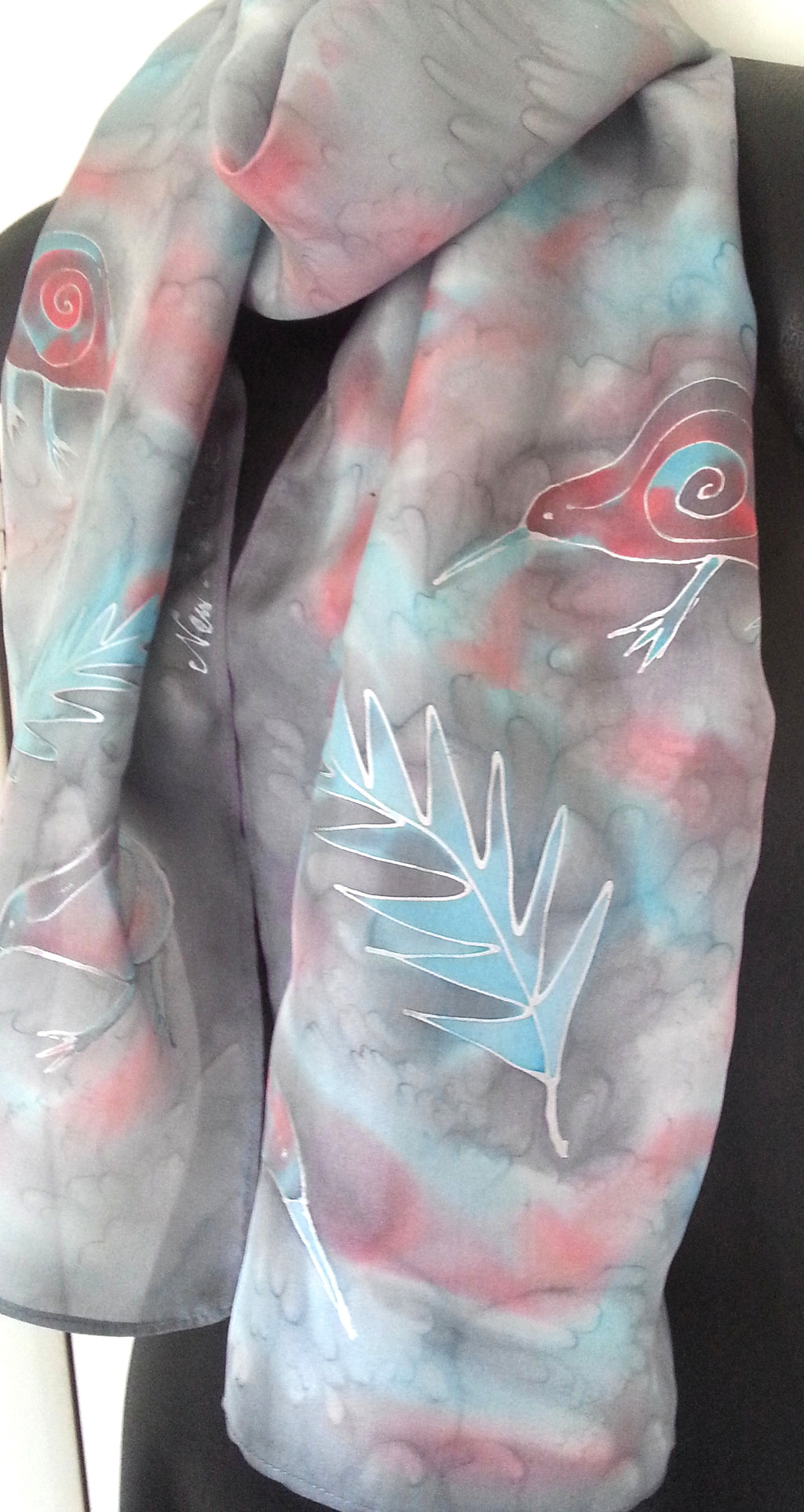 Kiwi Peach and Aqua - Hand painted Silk Scarf - Satherley Silks NZ