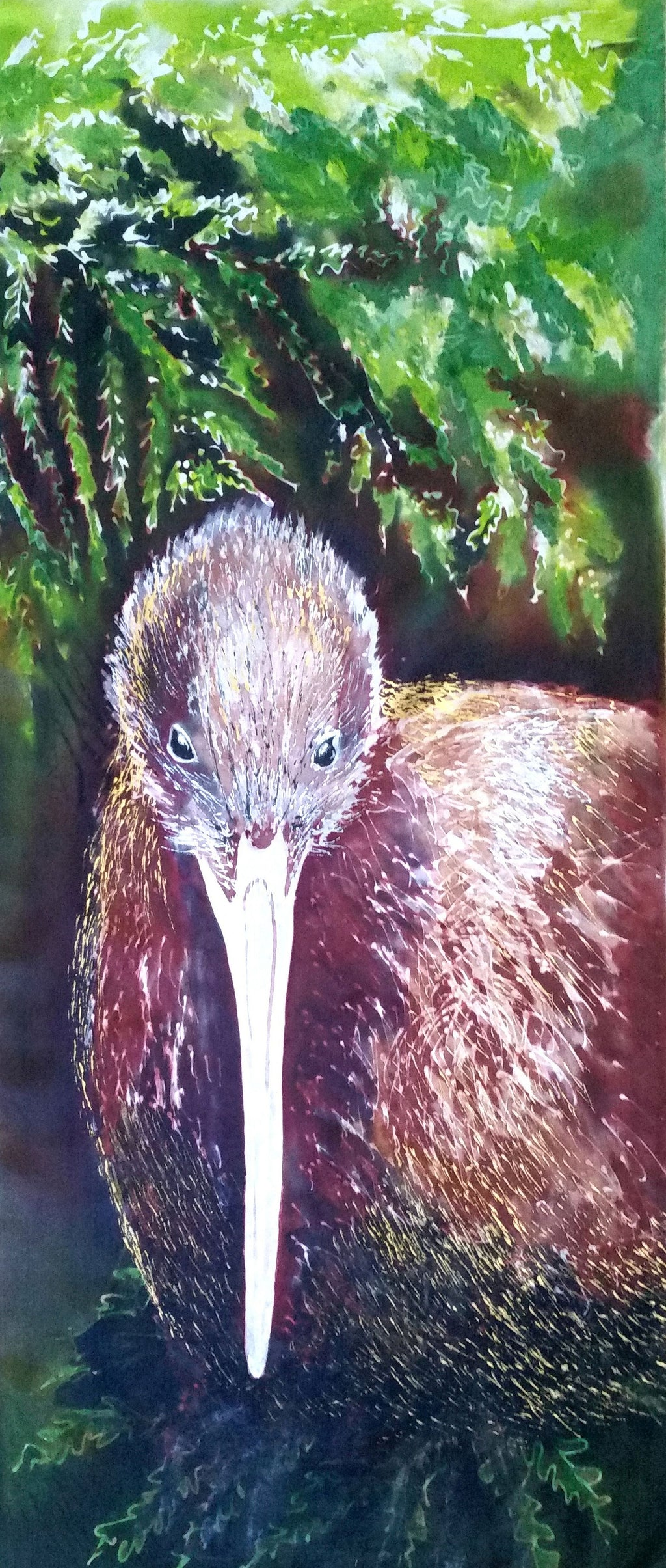 Original Silk Paintings -  Brown Kiwi