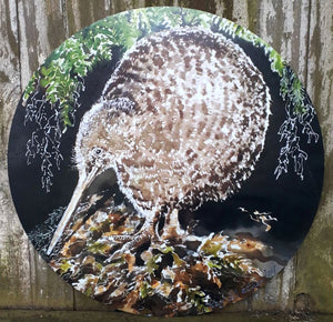 New Zealand  SPOTTED KIWI Bird, CIRCLE Outdoor Art Panel