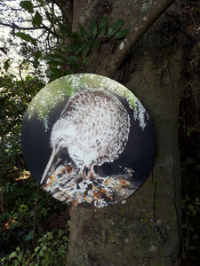 New Zealand  SPOTTED KIWI Bird, CIRCLE Outdoor Art Panel - Satherley Silks NZ