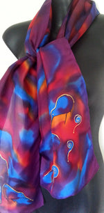 New Zealand Kiwi Bird & Koru - Hand painted Silk Scarf - Satherley Silks NZ