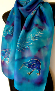 New Zealand Kiwi Bird - Hand painted Silk Scarf - Satherley Silks NZ