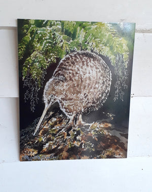 New Zealand Spotted Kiwi Bird, Outdoor Art Panel - Satherley Silks NZ