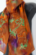 New Zealand Kiwi Bird in the Bush - Hand painted Silk Scarf
