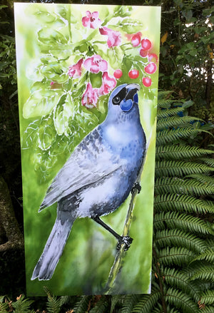 New Zealand Kokako on Puriri Tree - Outdoor Garden Art Panel - Satherley Silks NZ