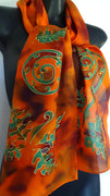 Koru and Ferns Orange - Hand painted Silk Scarf