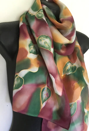Botanicals,Tawny Leaves - Hand painted Silk Scarf - Satherley Silks NZ