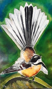 New Zealand Fantail Bird, Outdoor Art Mini Panel - Satherley Silks NZ
