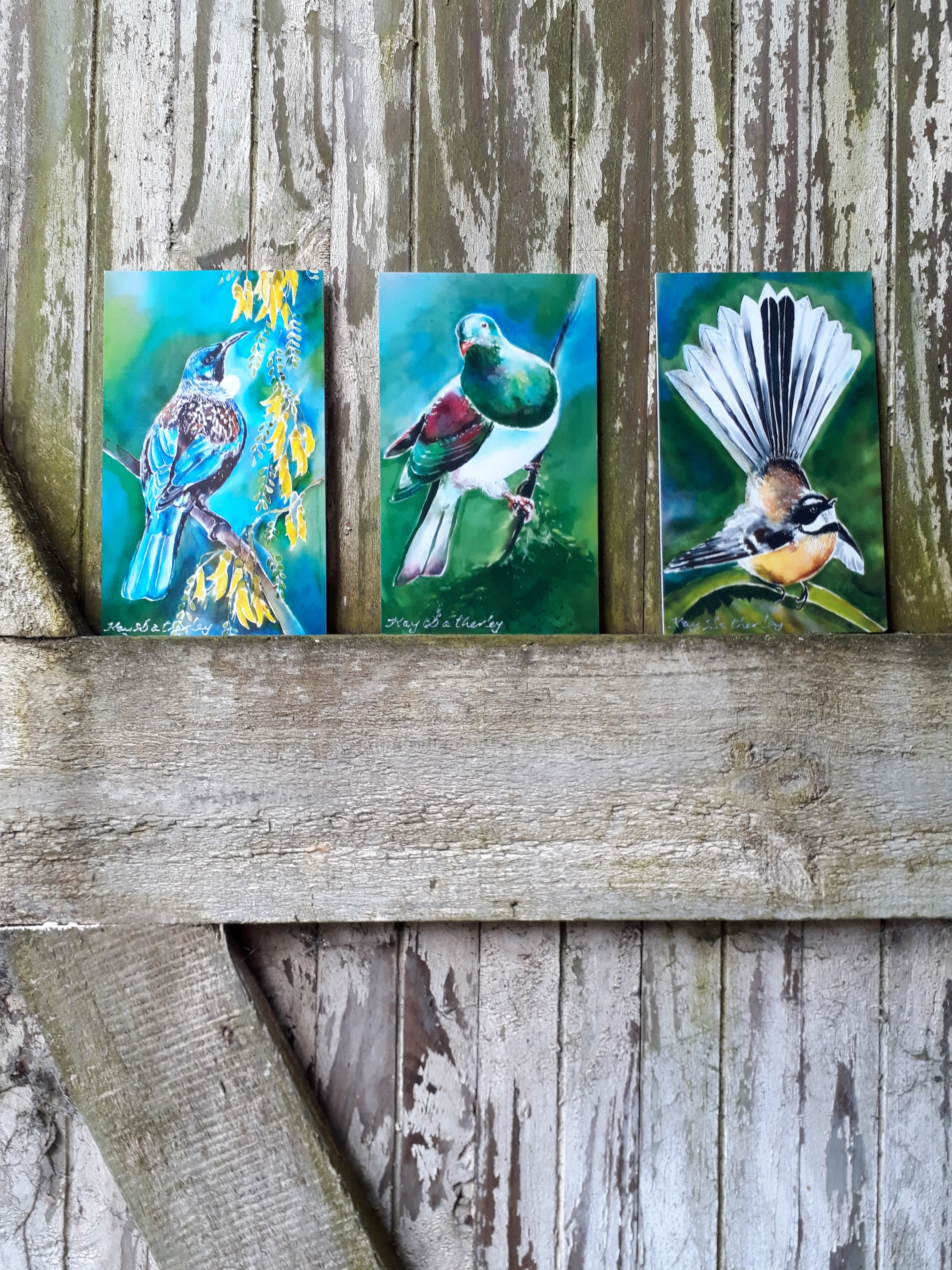 Special Trio of Kereru, Tui, and Fantail - Outdoor Art Mini Panels - Satherley Silks NZ
