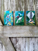 Special Trio of Kereru, Tui, and Fantail, Outdoor Art Mini Panels - Satherley Silks NZ