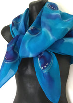 Paua Square - hand painted Silk Scarf - Satherley Silks NZ