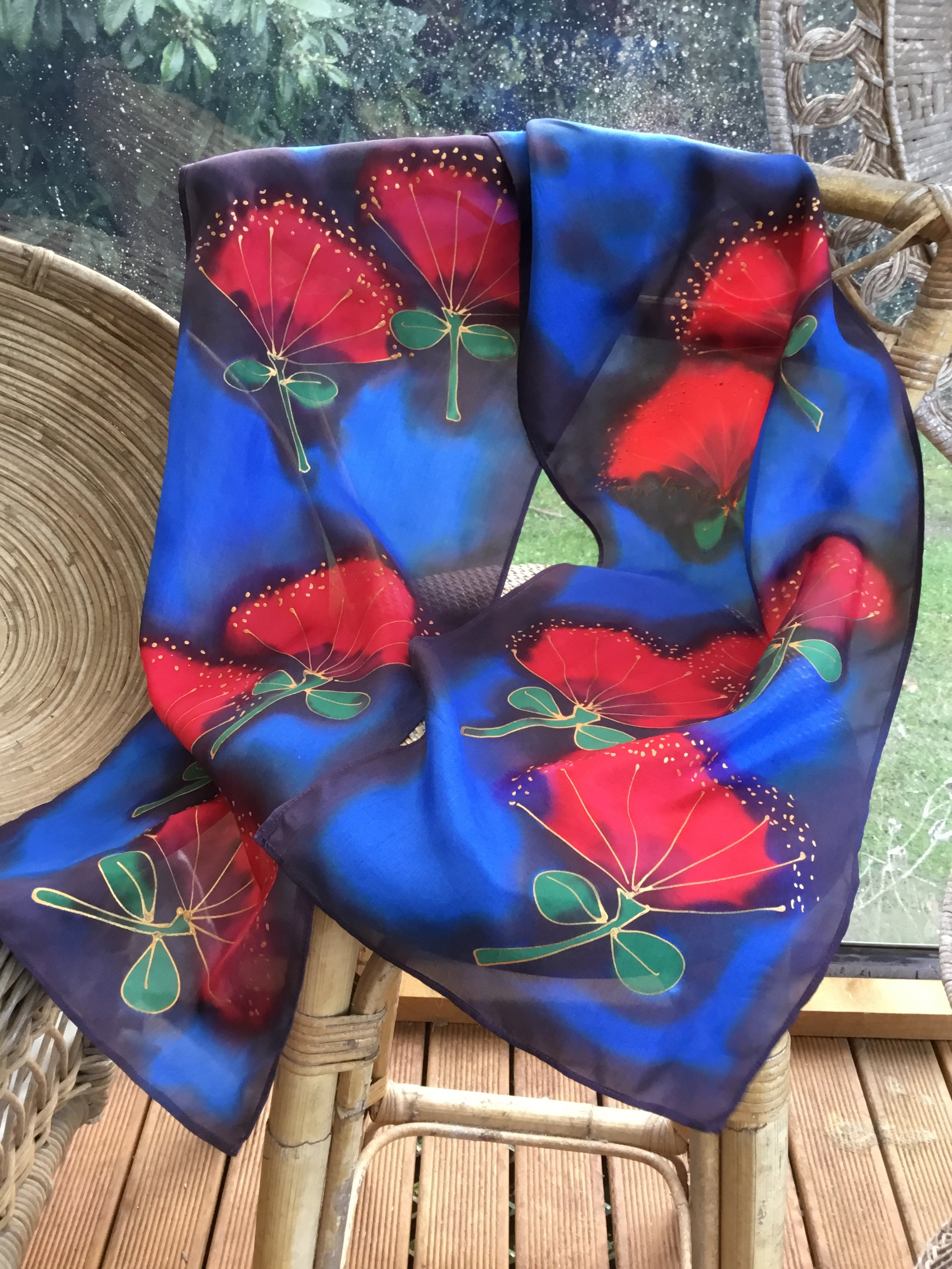 Pohutukawa, Red Flowers on Blue -  Hand painted Silk Scarf - Satherley Silks NZ