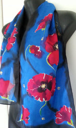 Red Poppies - Hand painted Silk Scarf - Satherley Silks NZ