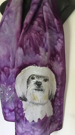 Maltese/Pekingese, Pet Portrait - Hand painted Silk Scarf - Satherley Silks NZ