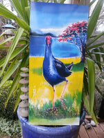 Pukeko & Pohutukawa New Zealand - Outdoor Garden Art Panel - Satherley Silks NZ