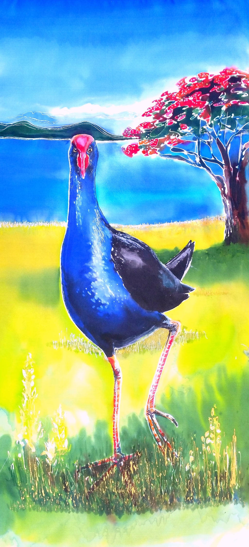 Original Silk Paintings - Pukeko / Pohutukawa
