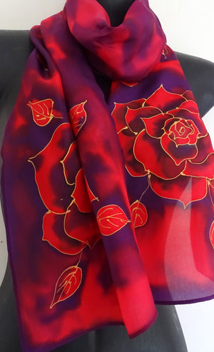 Purple and Red Rose - Hand painted Silk Scarf