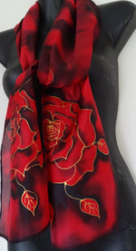 Midnight Rose - Hand painted Silk Scarf