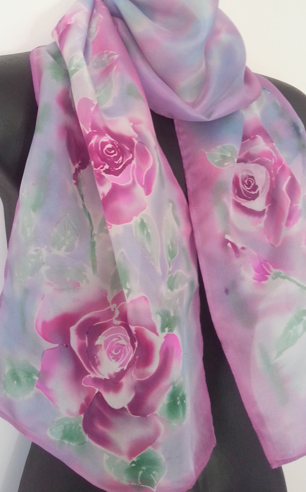 Rose Silk Scarf - Hand painted Silk Scarf - Satherley Silks NZ