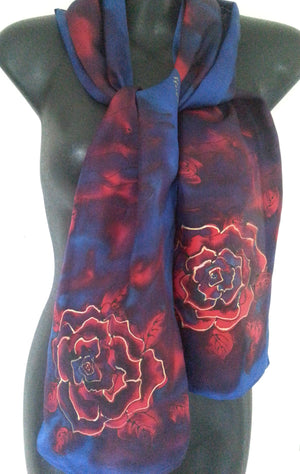 Navy, Red and Gold Rose - Hand painted Silk Scarf - Satherley Silks NZ