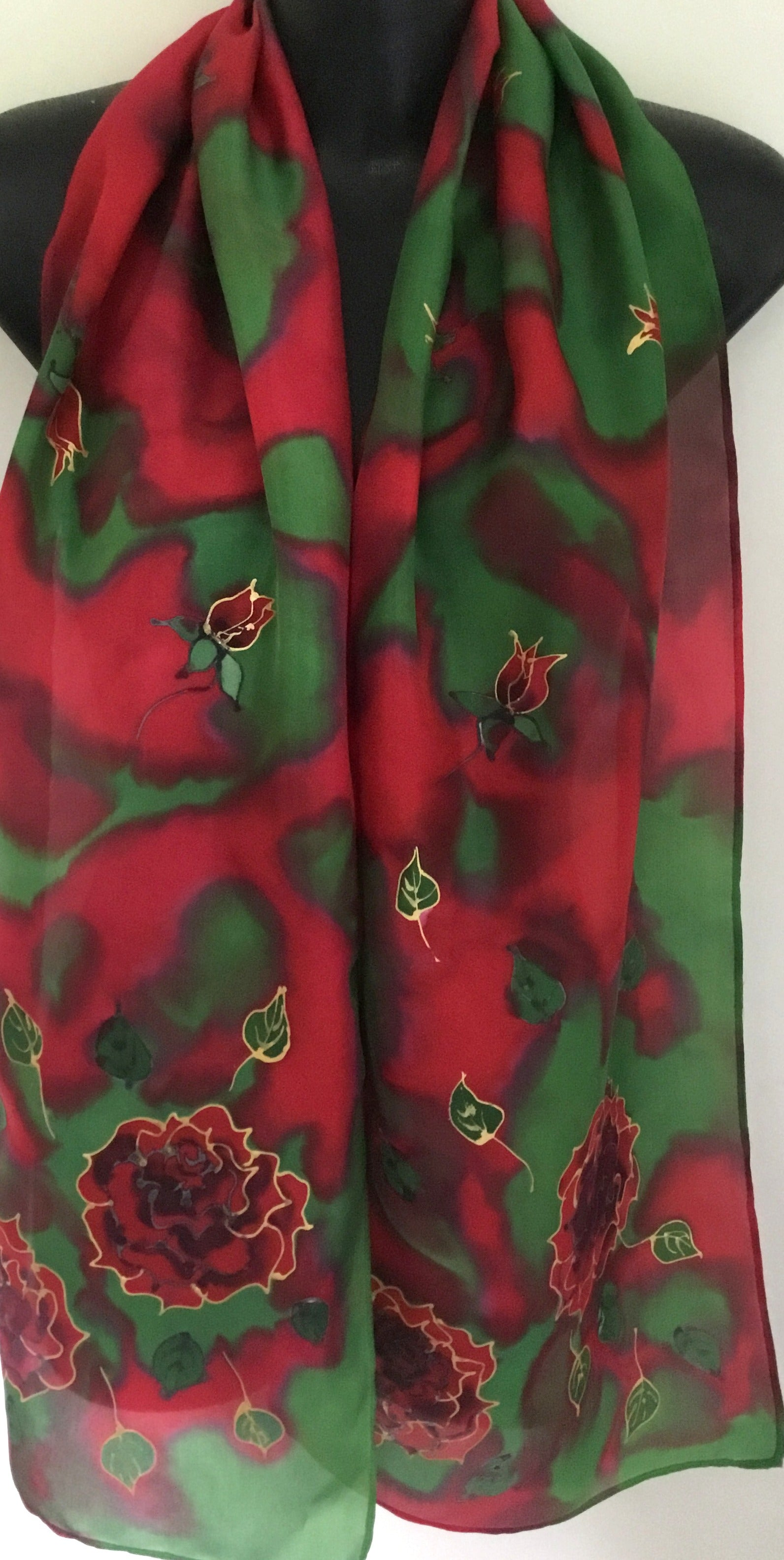 Rose on emerald Green & Red - Hand painted Silk Scarf - Satherley Silks NZ