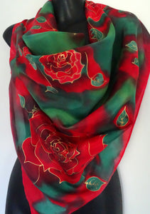 Rose on emerald Green & Red Square - Hand painted Silk Scarf