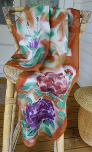 Roses on Tawny Cinnamon  - Hand painted Silk Scarf