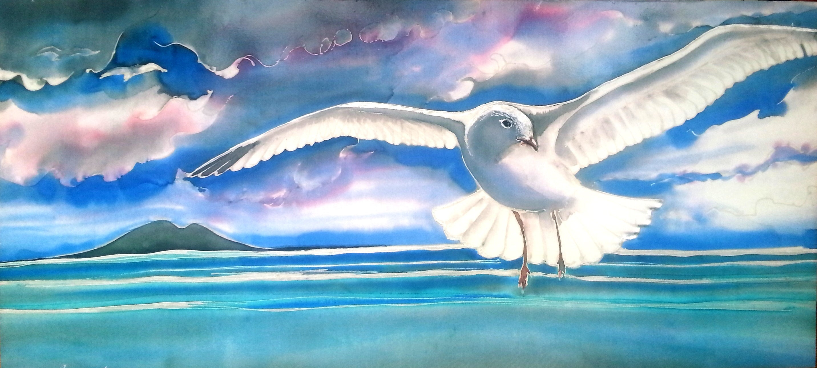 Seagull in Flight over Rangitoto - Outdoor Garden Art Panel - Satherley Silks NZ