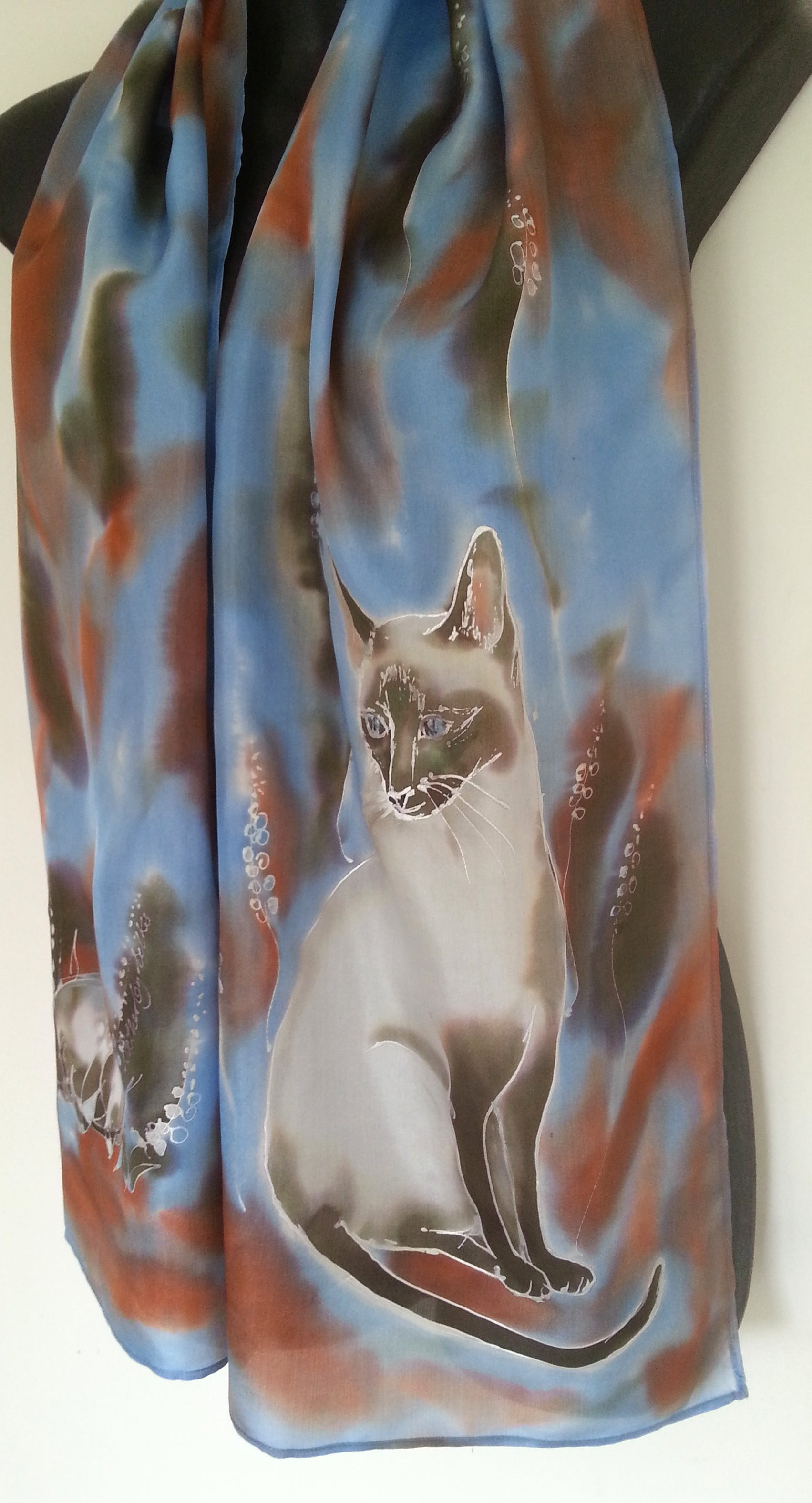 Siamese Cat  - Hand painted Silk Scarf - Satherley Silks NZ