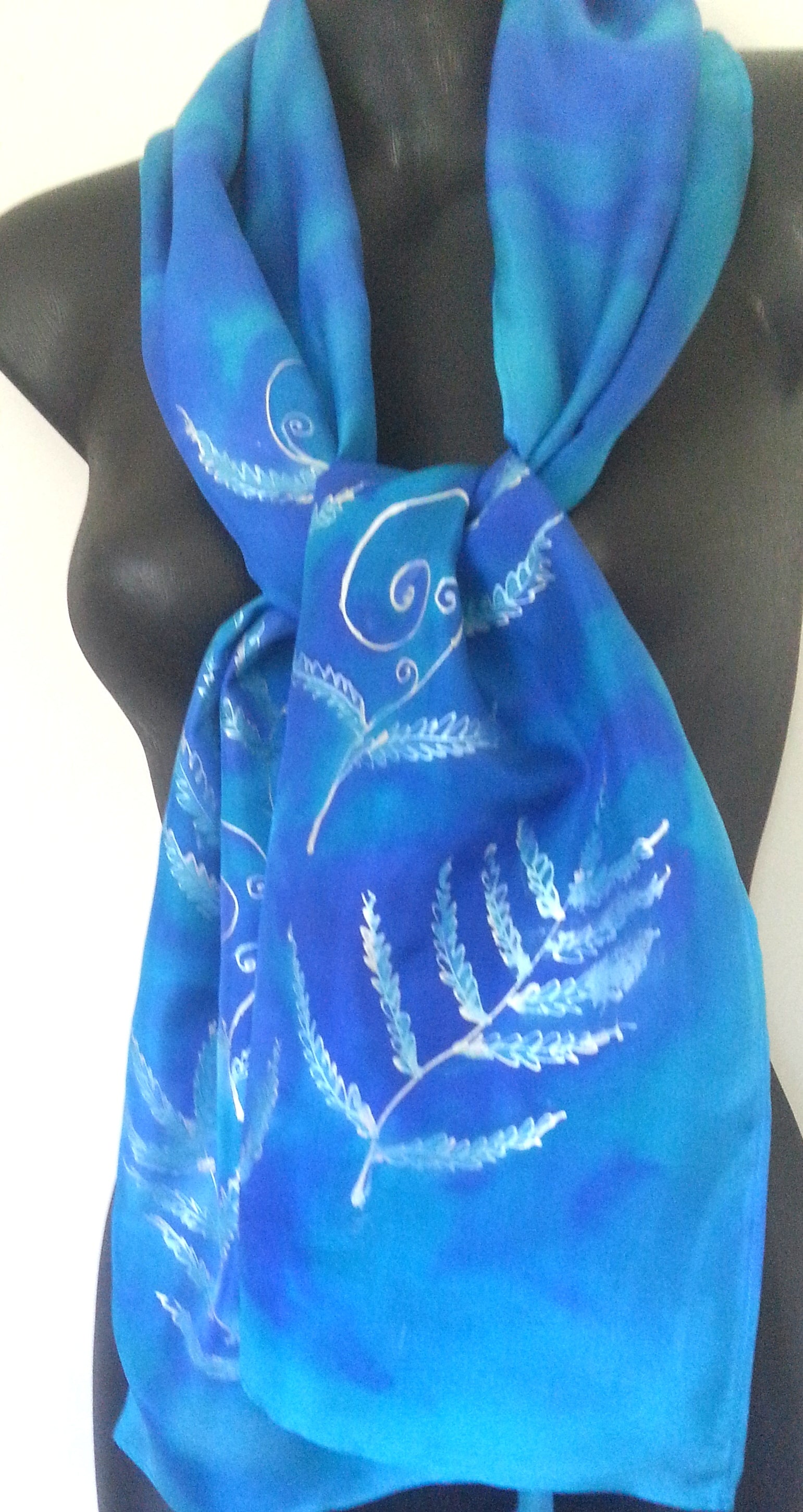 Silver Ferns with Korus -  Hand painted Silk Scarf - Satherley Silks NZ