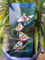New Zealand SilverEye (Tauhou), Outdoor Garden  Art - Satherley Silks NZ