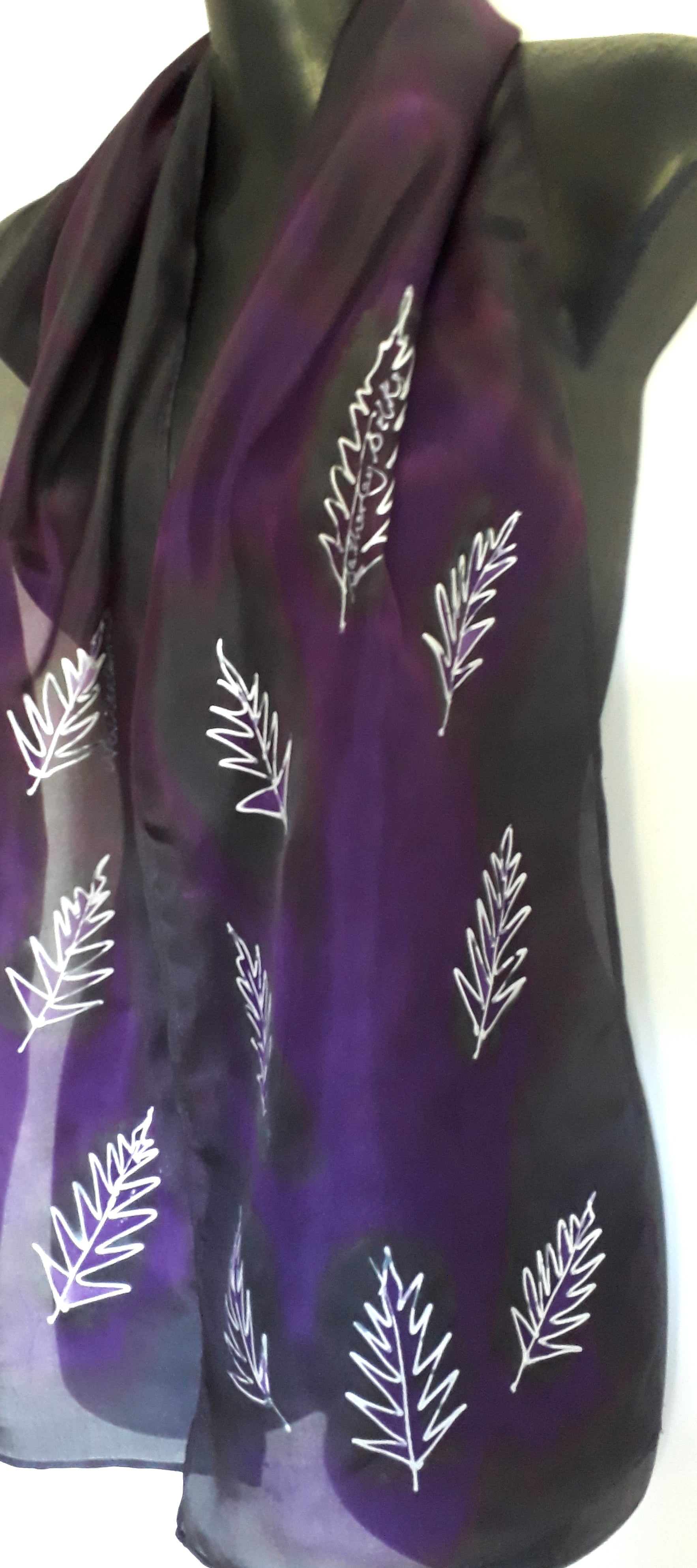 NZ Silver Ferns on Black & Purple - Hand Painted Silk Scarf - Satherley Silks NZ