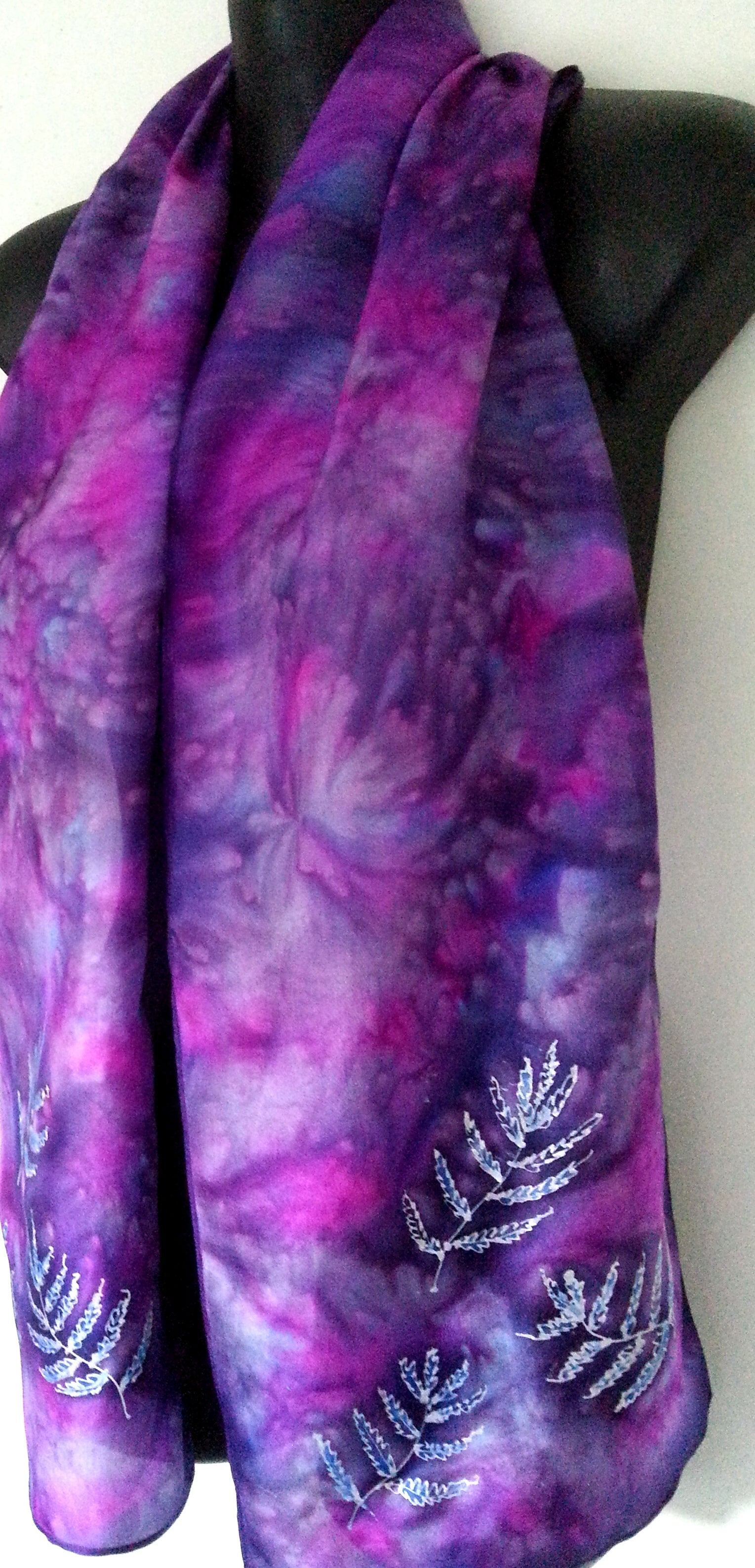 Silver Ferns on Purple  - Hand painted Silk Scarf - Satherley Silks NZ