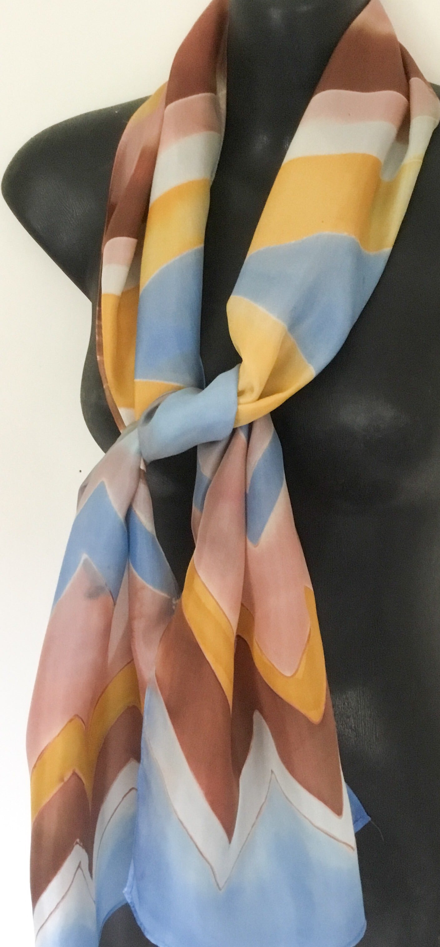 Stripes on a Geometric - Hand painted silk Scarf - Satherley Silks NZ
