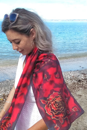 Midnight Rose - Hand painted Silk Scarf - Satherley Silks NZ