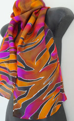 Tiger- Animal Hand painted Silk Scarf